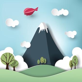 Arte di carta su montagne e foreste