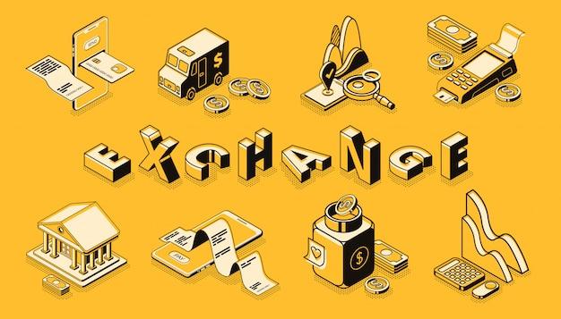 Arte di linea di borsa e cambio di valuta, banner di vettore isometrico.