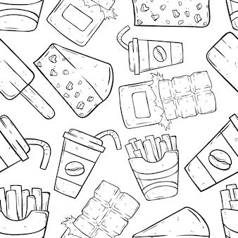Arte di scarabocchio degli alimenti industriali nel modello senza cuciture