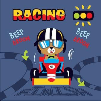 Arte di vettore del fumetto dell'automobile da corsa