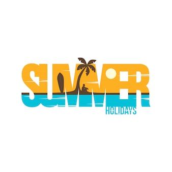 Arte di vettore di simbolo del segno della spiaggia di vacanze estive