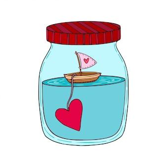 Arte disegnata a mano del fumetto della nave con cuore in un barattolo di vetro.