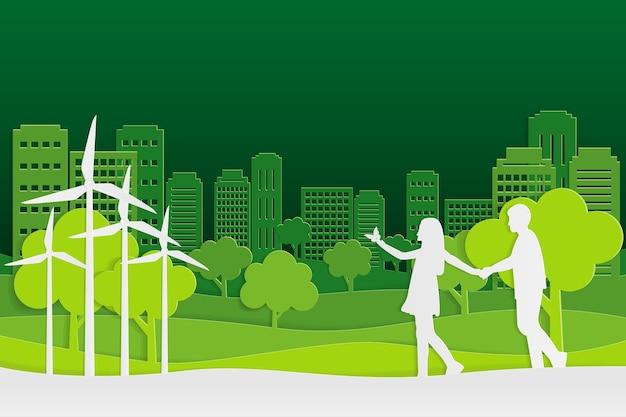 Arte e parco di carta sulla forma verde della città, arte di vettore