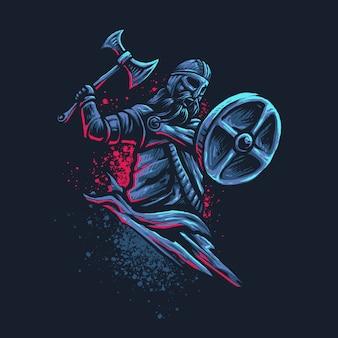 Arte leggendaria dell'illustrazione dell'ascia del guerriero
