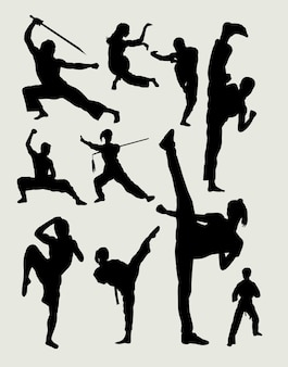 Arte marziale maschile e silhouette di azione di difesa