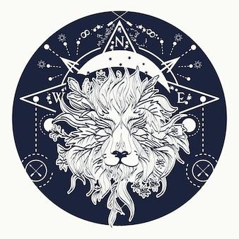 Arte mistica del tatuaggio del leone