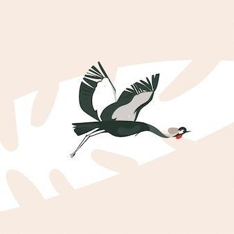 Arte moderna delle illustrazioni di concetto di safari nature del fumetto astratto disegnato a mano con l'uccello della gru di volo sul fondo di colore pastello