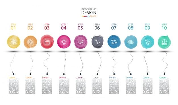 Arte moderna di infographics dell'etichetta dell'acquerello.