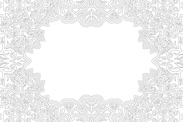Arte per la pagina del libro da colorare con bordo rettangolare