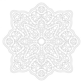 Arte per la pagina del libro da colorare con design mandala lineare