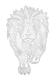 Arte per la pagina del libro da colorare con leone decorativo
