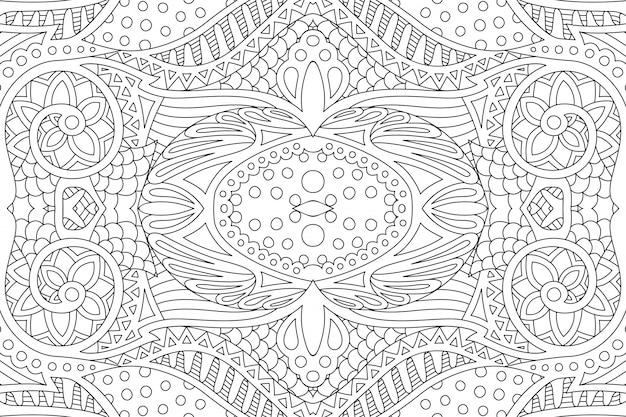Arte per la pagina del libro da colorare con motivo lineare senza soluzione di continuità