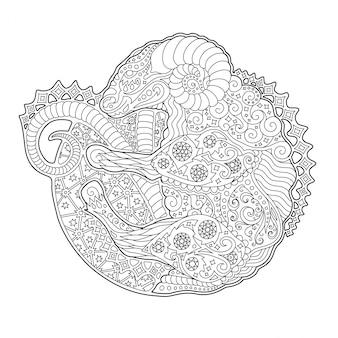 Arte per libro da colorare con ariete simbolo zodiacale