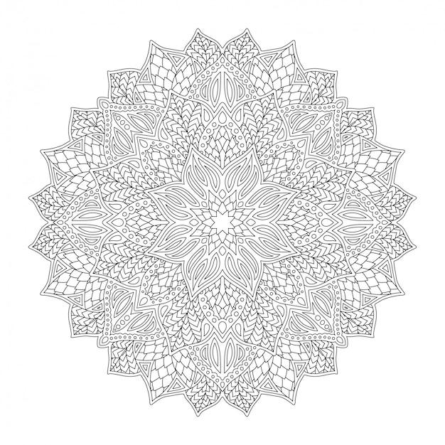 Arte per libro da colorare con mandala floreale lineare rotonda