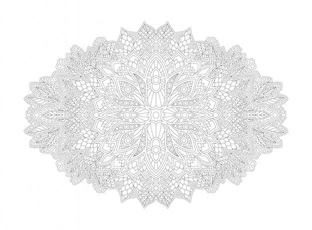 Arte per libro da colorare con motivi floreali lineari
