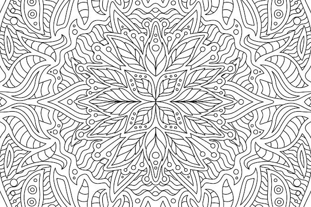 Arte per libro da colorare con motivo floreale lineare