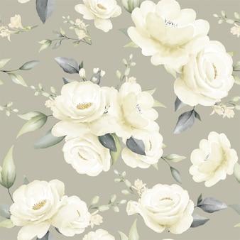 Arte senza cuciture floreale della foglia della pianta dell'acquerello del mazzo della rosa di bianco del modello
