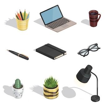 Articoli workspace icone vettoriali isometriche