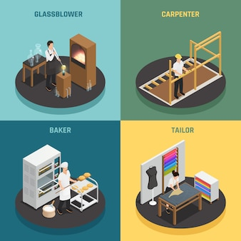 Artigianato professioni 2x2 design concept