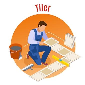 Artigiano riparazione a casa e rimodellamento composizione rotonda isometrica decorativa con piastrellista sul lavoro