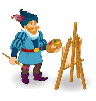 Artista con cavalletto, pennelli e vernici colorate