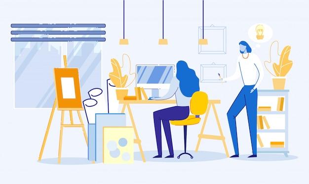 Artista, web designer che disegna immagini in studio.