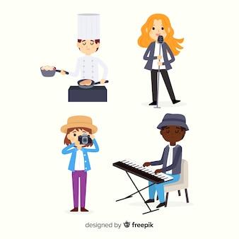 Artisti al lavoro insieme con il cantante