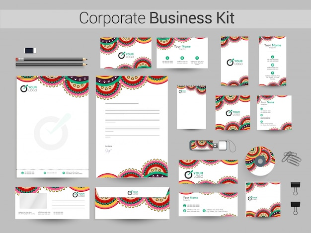 Artistic corporate business kit con disegno floreale.