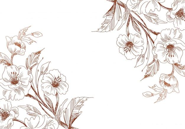 Artistico vintage decorativo schizzo matrimonio sfondo floreale