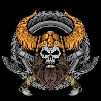 Asce del cranio della barba vichinga