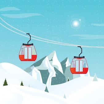Ascensore aereo sul paesaggio invernale.