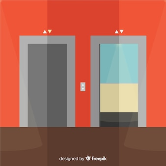 Ascensore con porta aperta e chiusa in stile piatto