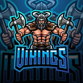 Ascia della tenuta di progettazione di logo di gioco della mascotte di viking