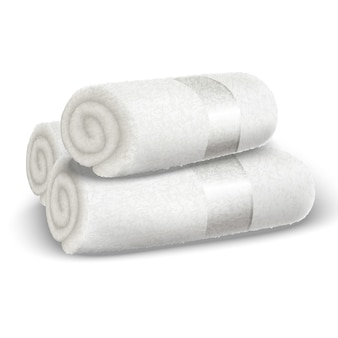 Asciugamani arrotolati spa bianco di vettore.