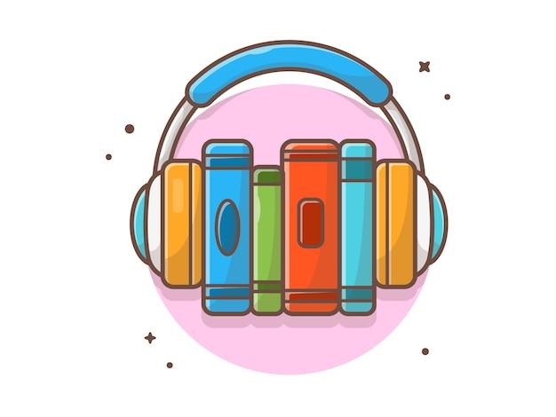 Ascolto della musica del libro online con l'icona della musica della cuffia. bianco di istruzione di musica di e-learning isolato