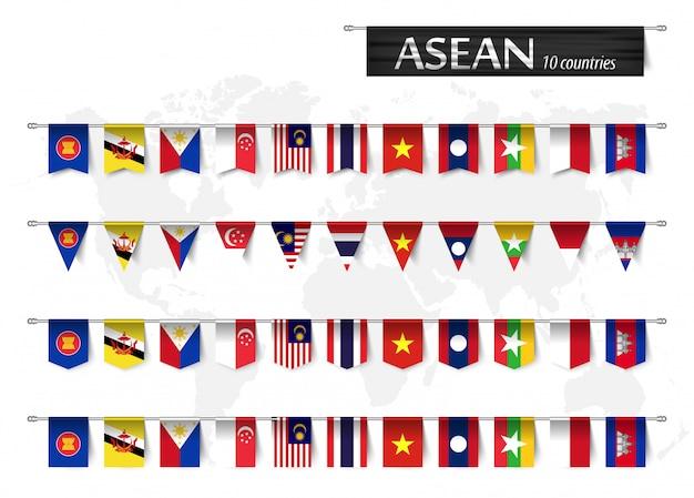 Asean e varie bandiere a forma di nazione di appartenenza al paese