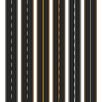 Asfalto. set di tipi di strade con segnaletica. modello di striscia autostradale per infografica. illustrazione