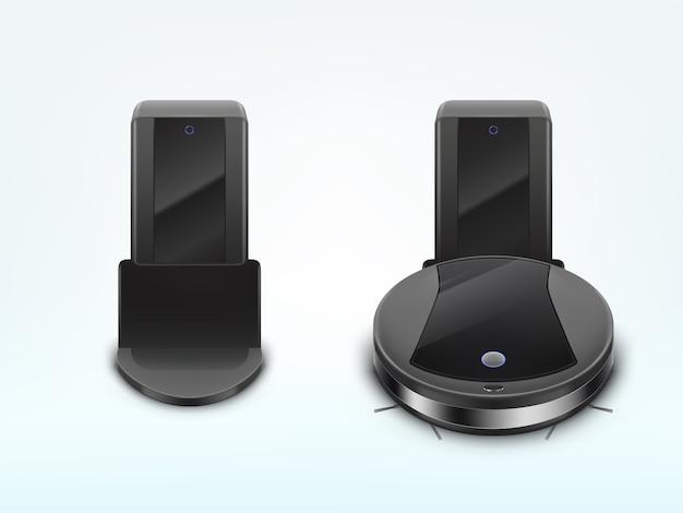 Aspirapolvere robot moderno che carica batteria