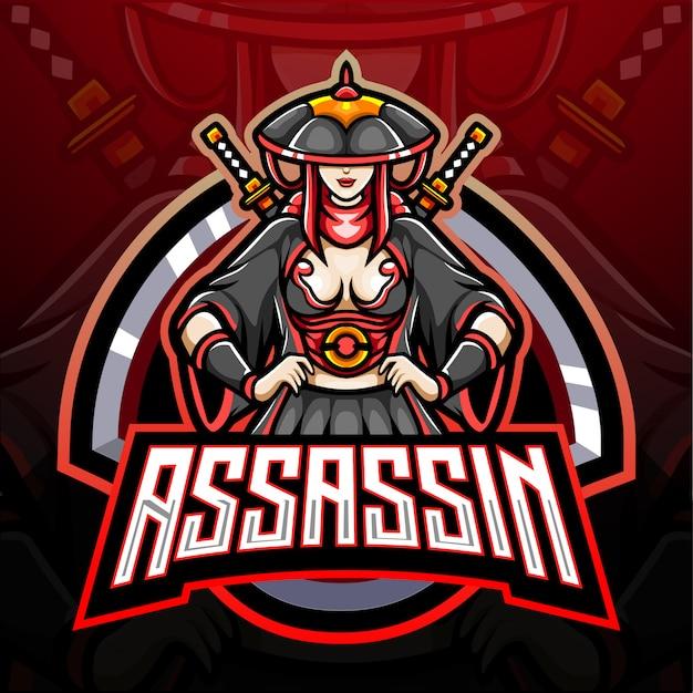Assassin girl esport logo mascotte design
