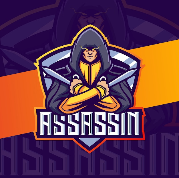 Assassino mascotte esport logo design
