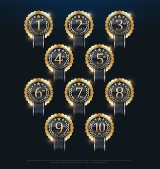 Assegna l'etichetta d'oro 1a, 2a, 3a, 4a, 5a, 6a, 7a, 8a, 9a, 10a