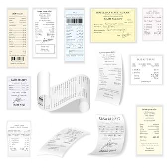 Assegni commerciali vector set piatto isolato su bianco