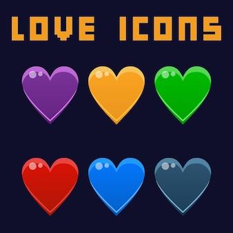 Asset di gioco delle icone di amore