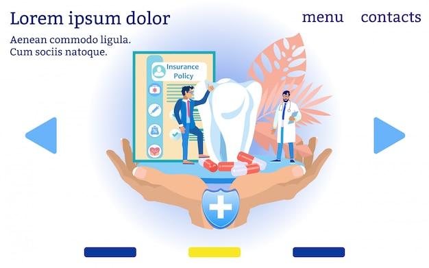 Assicurazione sanitaria dentale. menu del sito web. .