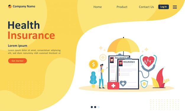 Assicurazione sanitaria per pagina web di destinazione