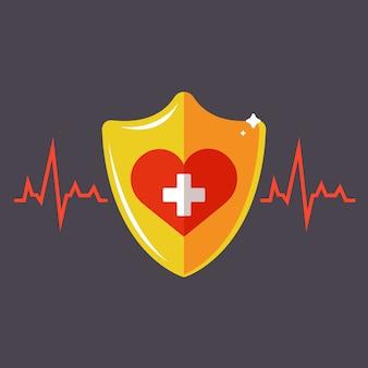 Assicurazione sanitaria umana. scudo d'oro con un cuore. illustrazione.