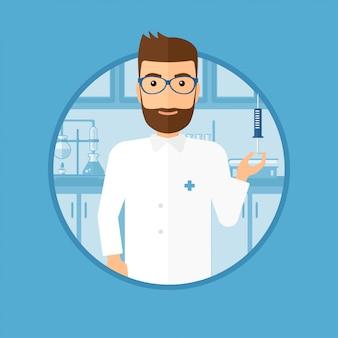 Assistente di laboratorio con la siringa in laboratorio.