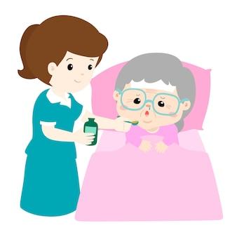 Assistente di professione d'infermiera che dà l'illustrazione di vettore della medicina della nonna