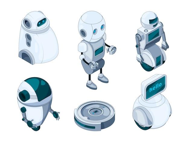 Assistente di robot domestici. varie macchine di aiuto