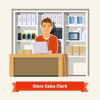 Assistente di vendita che lavora con i clienti